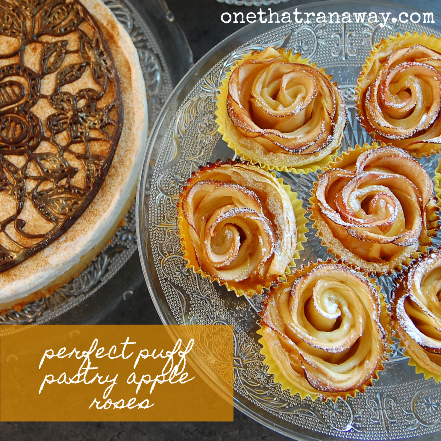 cake and puff pastry apple roses