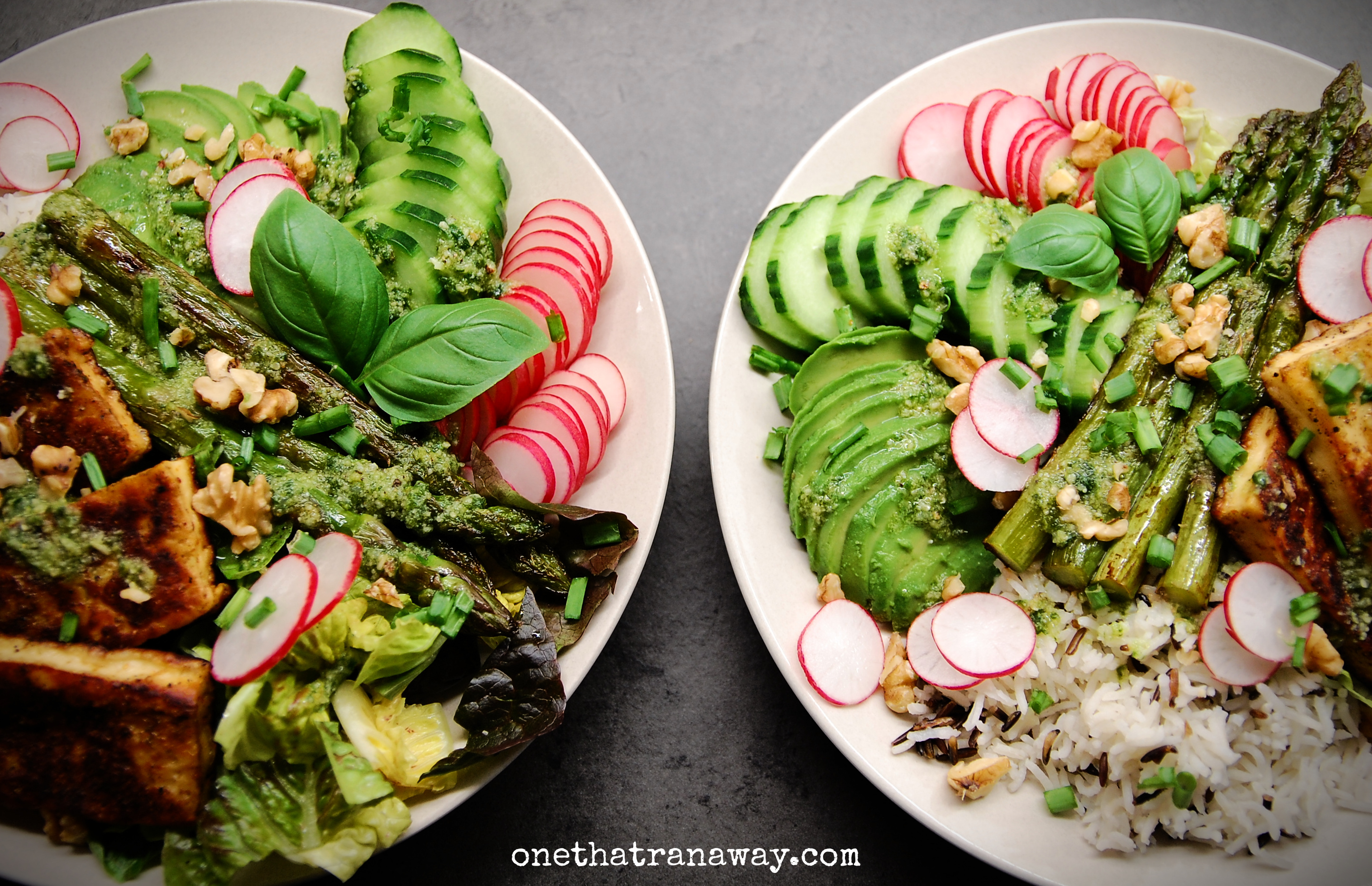 two veggie packed spring bowls with asparagus and halloumi cheese