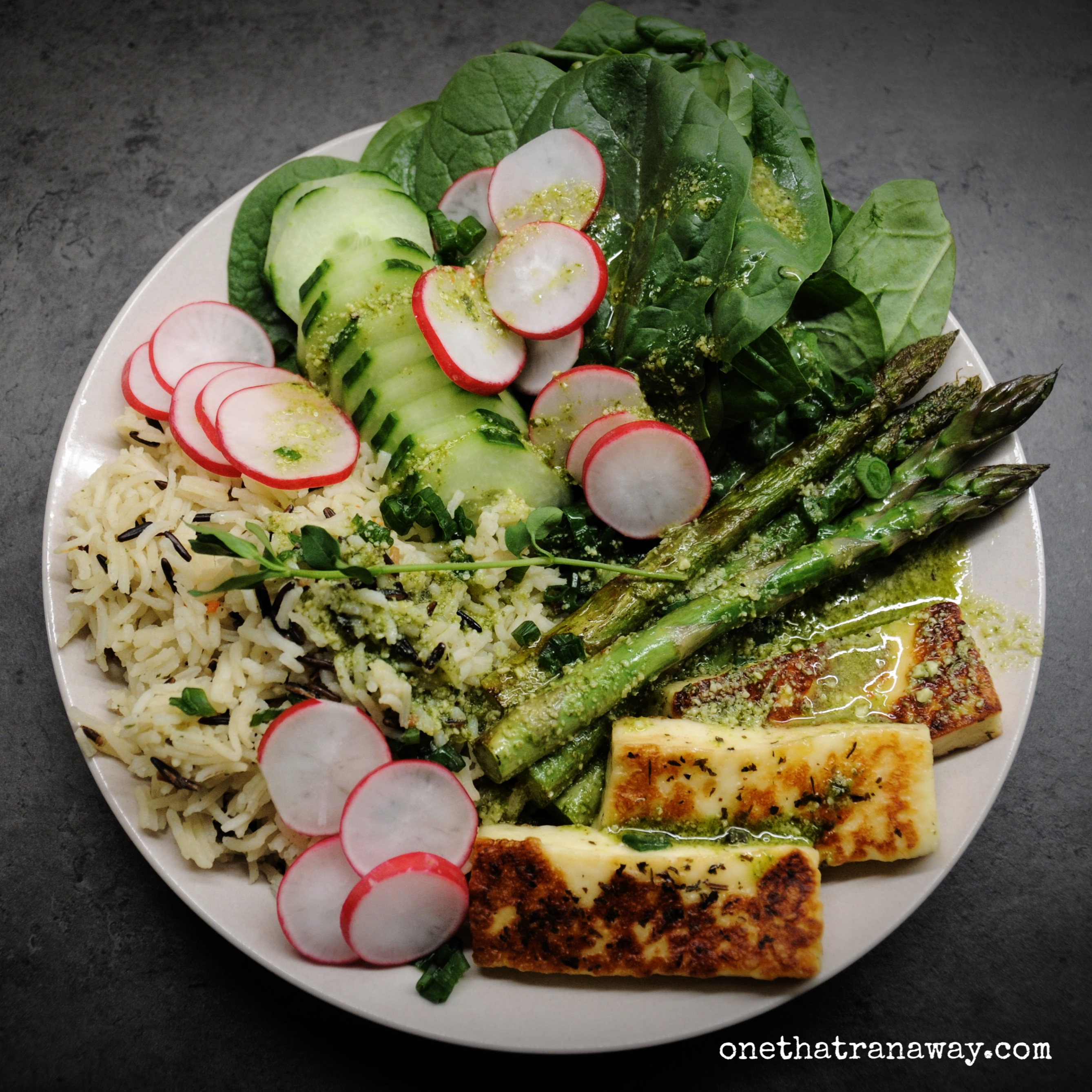 veggie packed spring bowl with asparagus