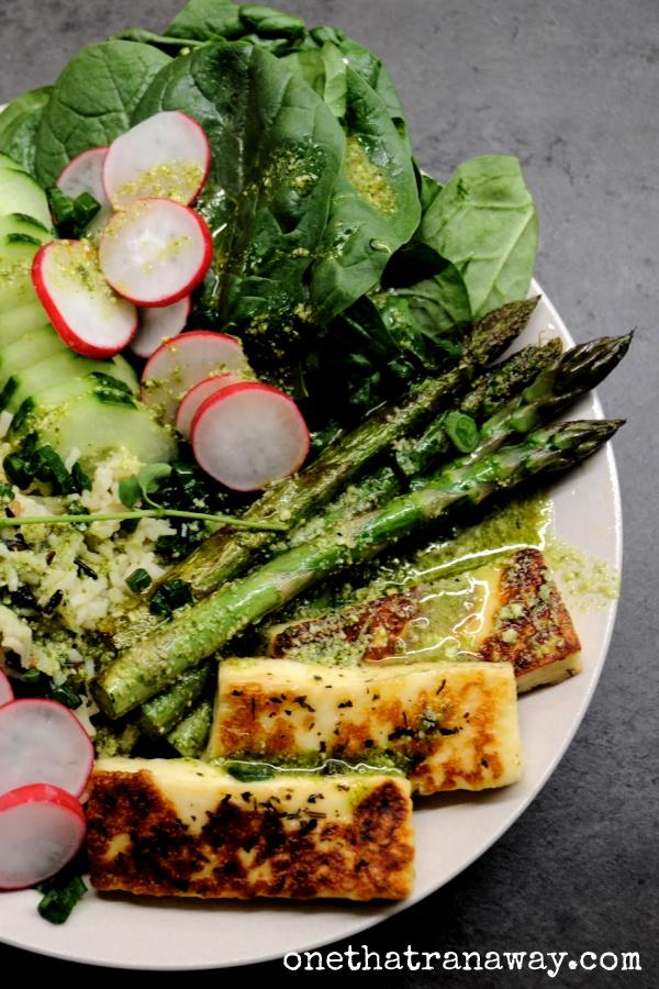 healthy veggie packed spring bowl