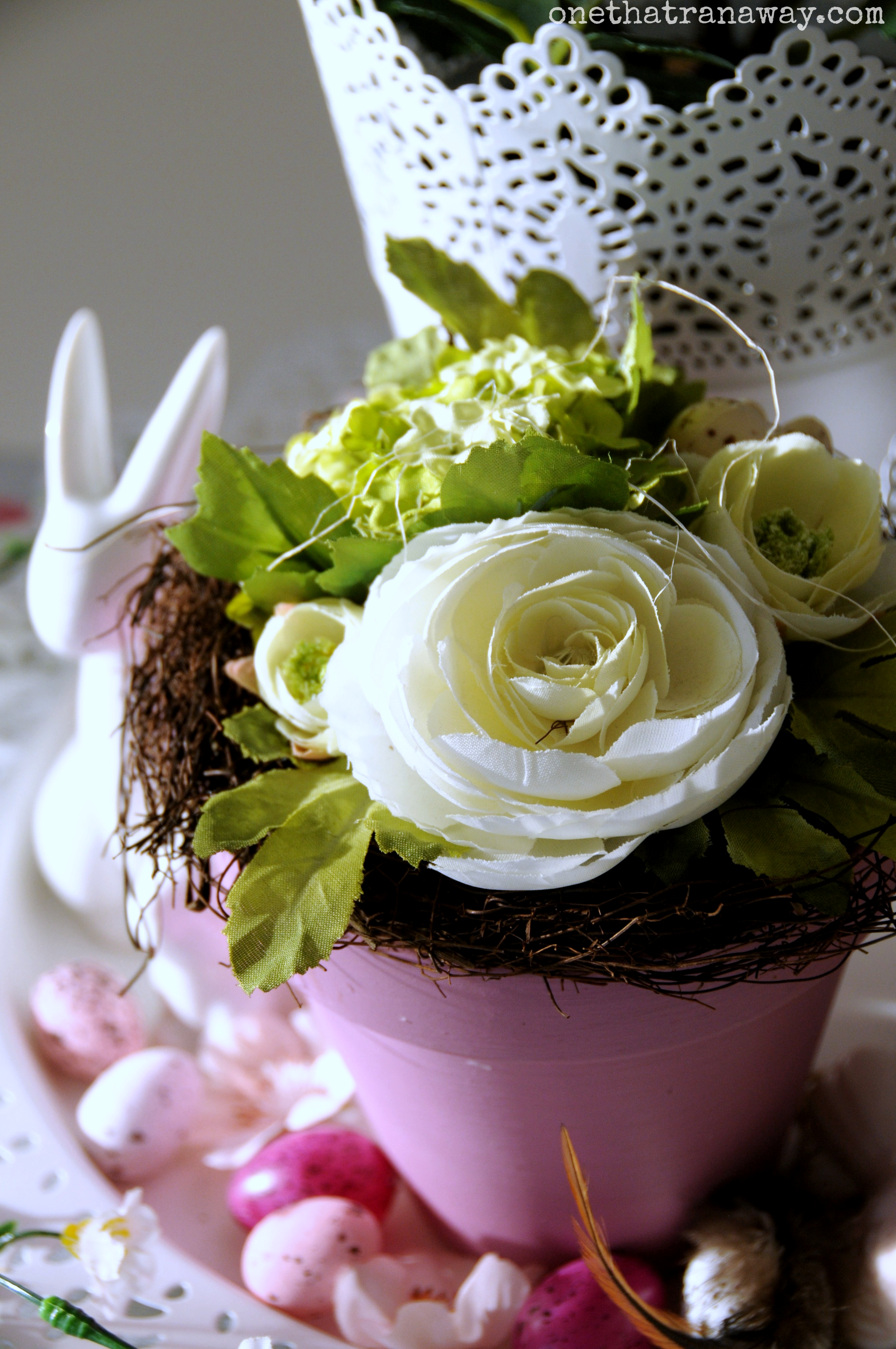 easter center piece with artificial flowers