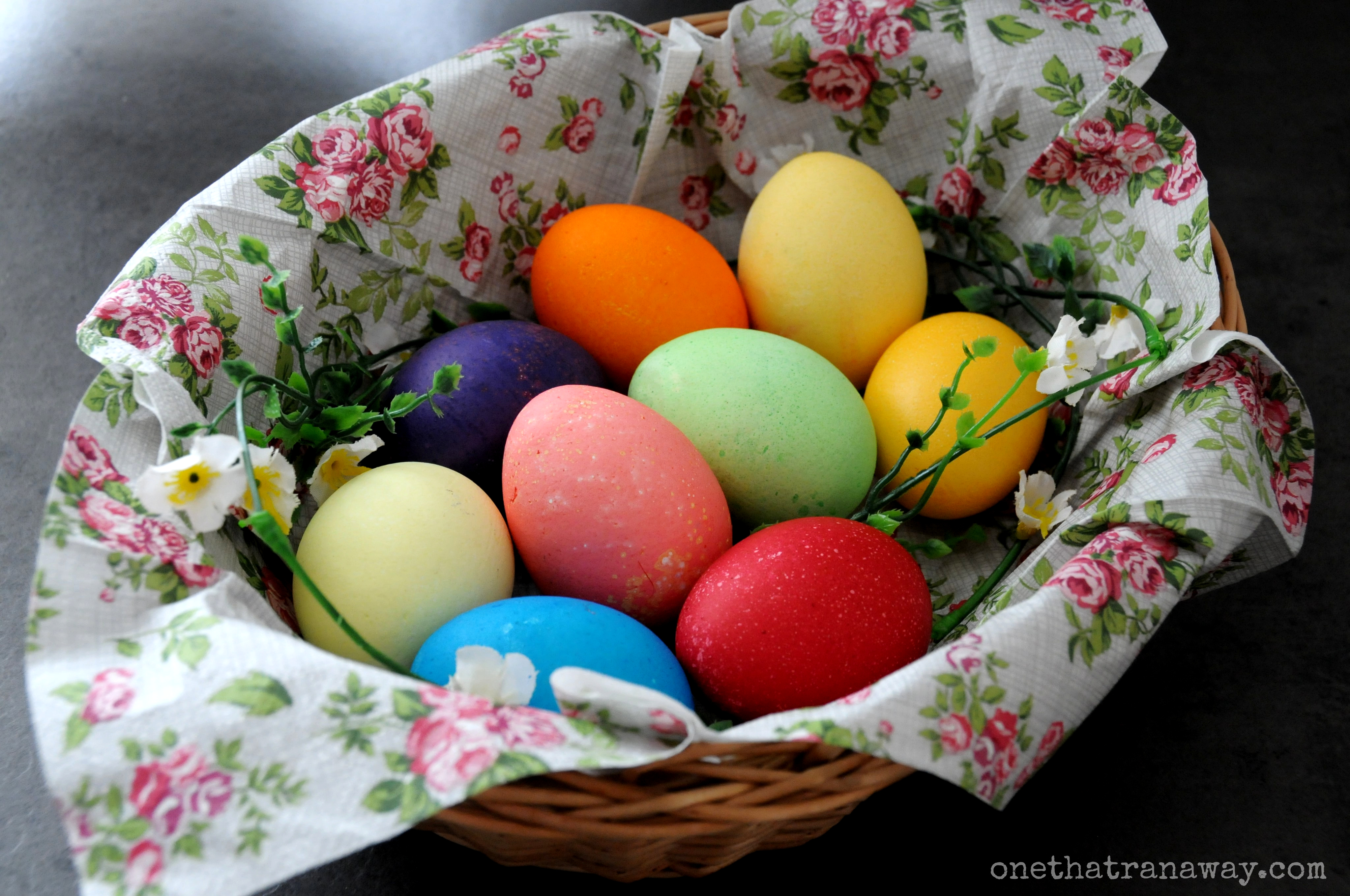 colourful easter eggs in a basket