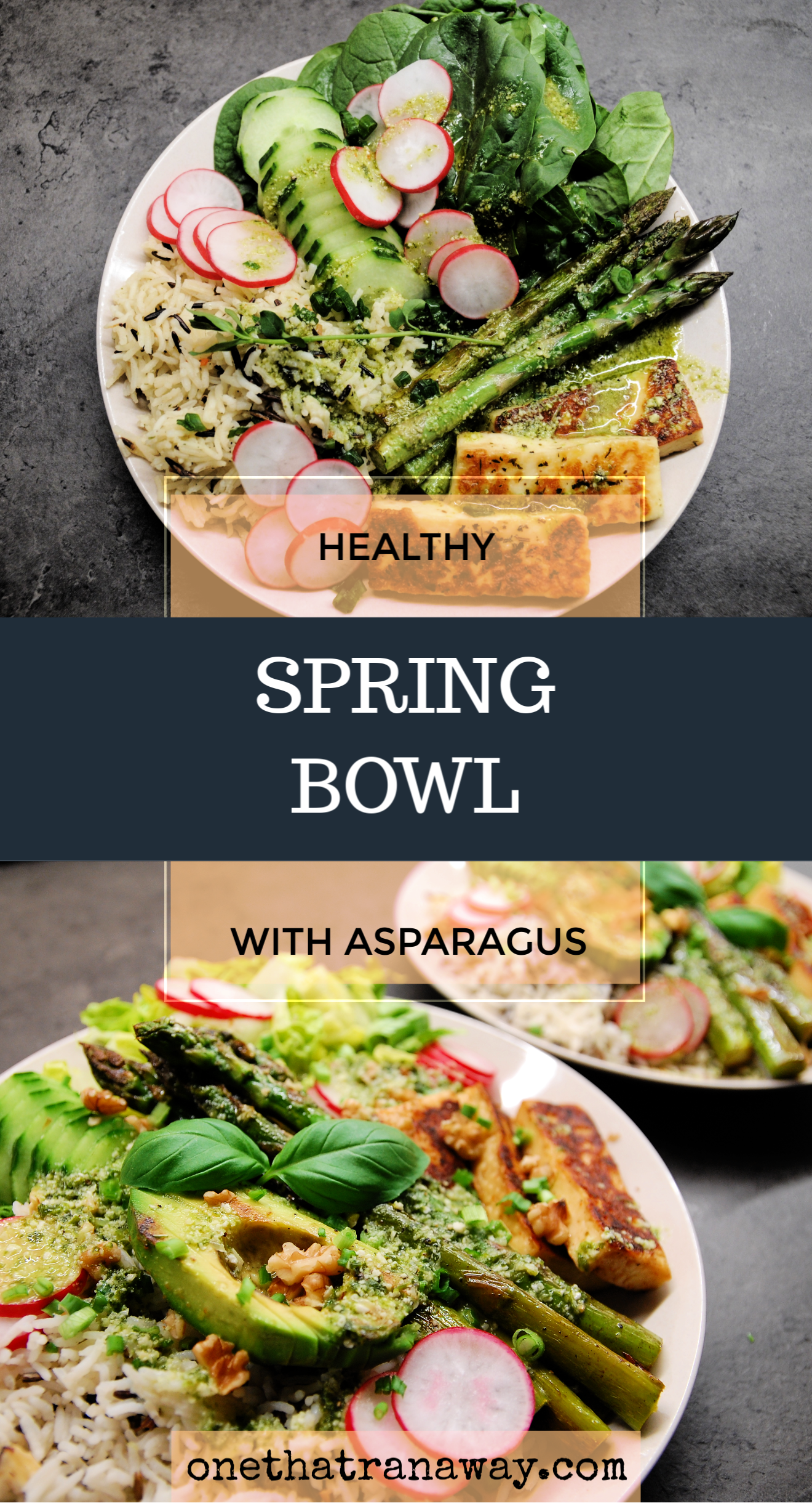 healthy vegetarian veggie packed spring bowl with asparagus and halloumi cheese