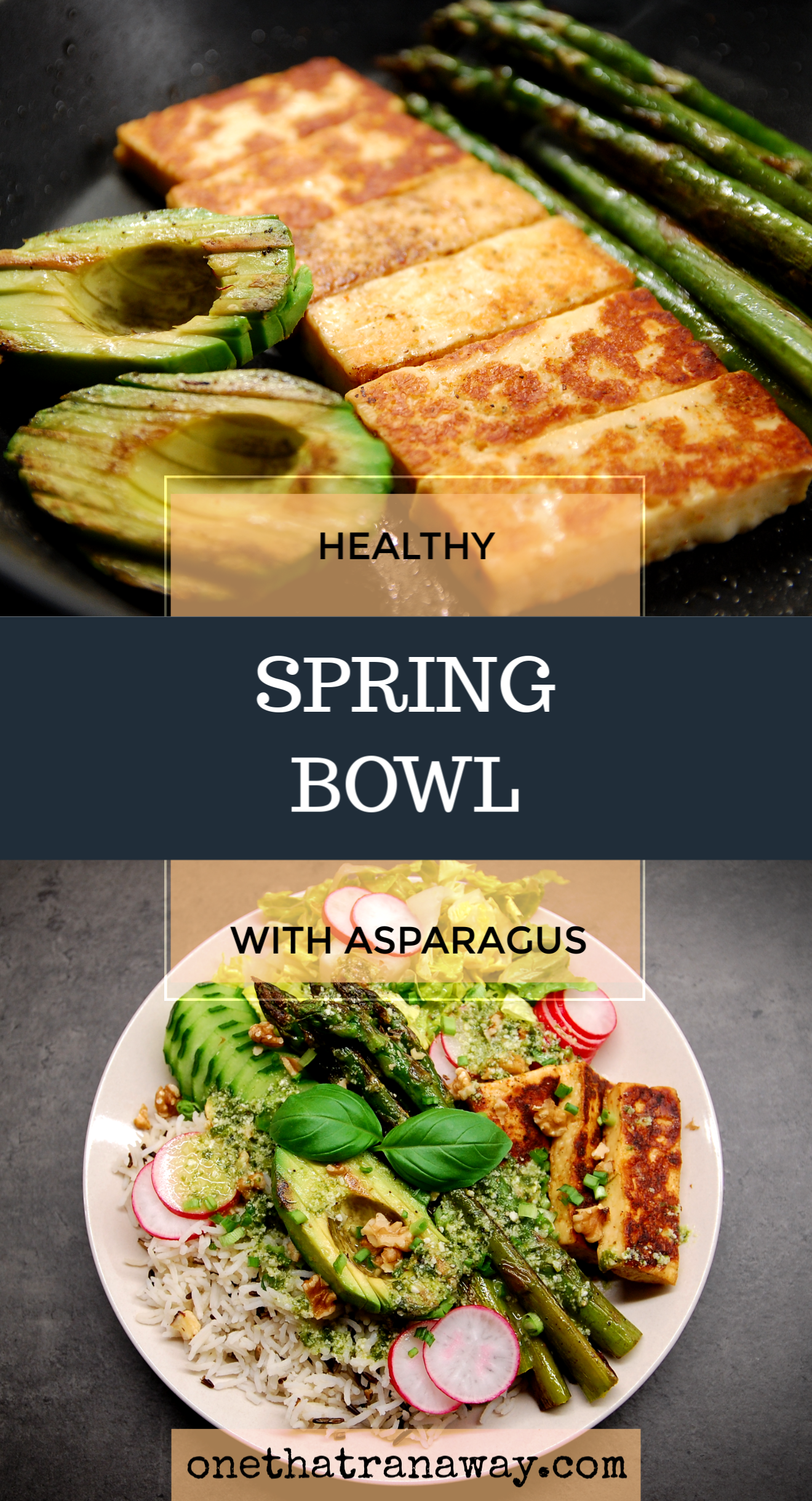 healthy veggie packed spring bowl with asparagus