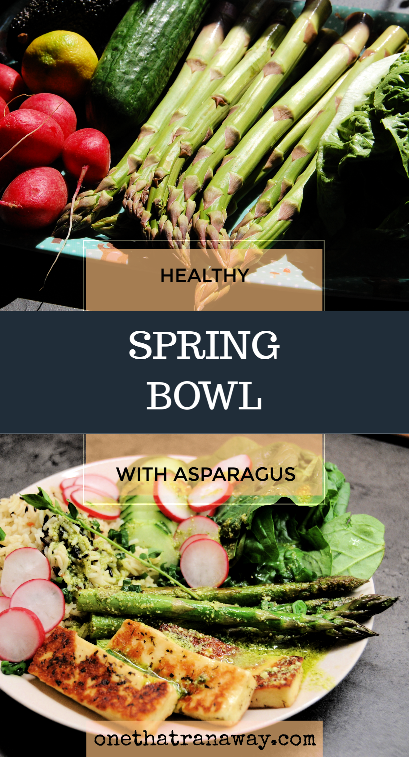 healthy vegetarian spring bowl with asparagus and halloumi cheese