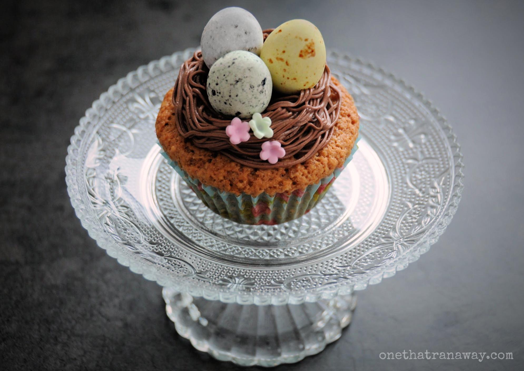 easter egg cupcake on a glass platter