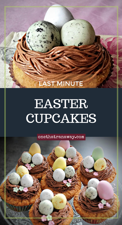 last minute easter nest cupcakes