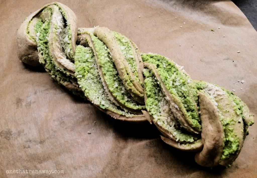 unbaked braided pesto bread